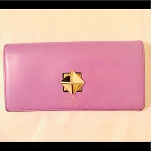 Kate Spade Lilac Leather Wallet Pyramid Turnlock